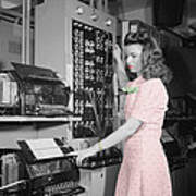 Teletype Girl Art Print
