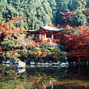 Temple Behind A Pond, Daigo-ji Temple Art Print