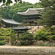 Temple By Lake And Forest Seoul South Korea Art Print