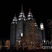 Temple Christmas Lights Art Print