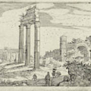 Temple Of Castor And Pollux And The Basilica Of Constantine Art Print