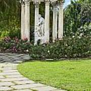 Temple Of Love Statue At The Rose Garden Of The Huntington. Art Print