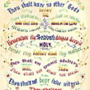 Ten Commandments Calligraphy 1889 Art Print