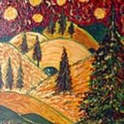 Ten Moons In Scarlet Sky Art Print