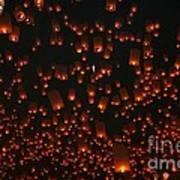 Ten Thousand Lantern Launch Art Print