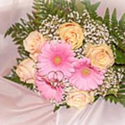 Tender Bridal Bouquet Witn Wedding Rings Art Print