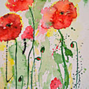 Tender Poppies - Flower Art Print by Ismeta Gruenwald