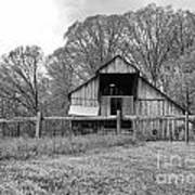Tennessee Barn Bw Art Print by Chuck Kuhn