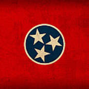 Tennessee State Flag Art On Worn Canvas Art Print