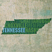 Tennessee Word Art State Map On Canvas Art Print by Design Turnpike