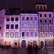 Terraced Historic Houses At Night In Warsaw Art Print