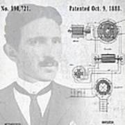Tesla A / C Current Patent Art 1888 Art Print