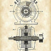 Tesla Alternating Electric Current Generator Patent 1891 - Vintage Art Print