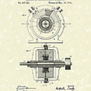 Tesla Generator 1891 Patent Art Art Print by Prior Art Design