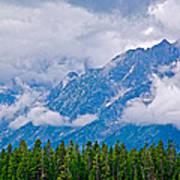 Teton Peaks Through Clouds In Grand Teton National Park-wyoming   Art Print
