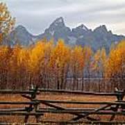 1m9354-teton Range In Autumn From Jackson Hole Ranch Country Art Print
