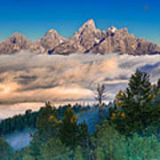Tetons Above The Clouds Art Print