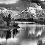 Tetons In Black And White Art Print