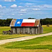 Texas Barn Flag Art Print