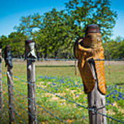 Texas Boot Fence Art Print