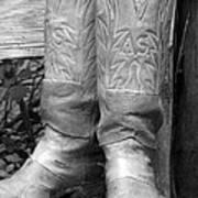 Texas Boots Portrait - Bw 03 Art Print