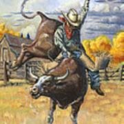 Texas Bull Rider Art Print by Jeff Brimley