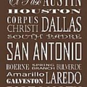 Texas Cities On Brown Art Print