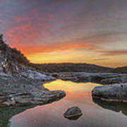 Texas Hill Country Images - Pedernales Falls February Sunrise 3  Art Print