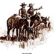 Texas Rangers, Lithograph Of A Wash Art Print