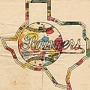 Texas Rangers Logo Vintage Art Print