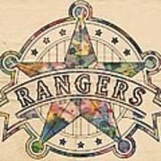Texas Rangers Poster Art Art Print