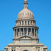 Texas State Capitol With Six Flags Art Print