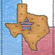 Texas Tried And True Red White And Blue Star Art Print
