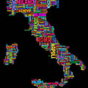 Text Map Of Italy Map Art Print