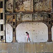 Texting Girl W/ Viaduct Print by Joe Kotas