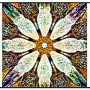 Textured Flower Kaleidoscope Triptych Art Print