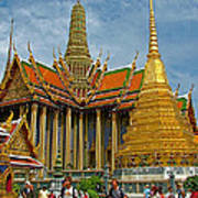 Thai-khmer Pagoda And Golden Chedis At Grand Palace Of Thailand  Art Print
