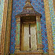 Thai-kmer Pagoda Window At Grand Palace Of Thailand In Bangkok Art Print