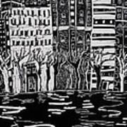 Thames In Winter Print by Hilary Rosen