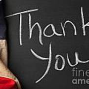 Thank You Sign On Chalkboard Art Print