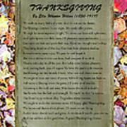 Thanksgiving By Ella Wheeler Wilcox Art Print