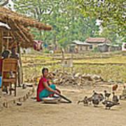 Tharu Farming Village Landscape-nepal Art Print