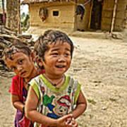 Tharu Village Children Love To Greet Us-nepal- Art Print