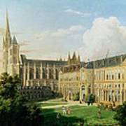 The Abbey Church Of Saint-denis And The School Of The Legion Of Honour In 1840 Oil On Canvas Art Print