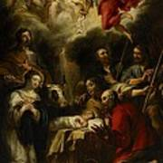 The Adoration Of The Shepherds Art Print by Jan Cossiers