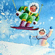 The Aerial Skier - 10 Art Print by Hanne Lore Koehler