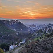 The Alhambra And Granada At Sunset Art Print