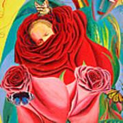 The Angel Of Roses Art Print