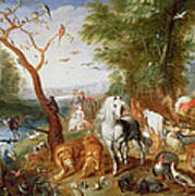 The Animals Entering Noahs Ark Panel Art Print