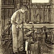 The Apprentice - Paint Sepia Art Print